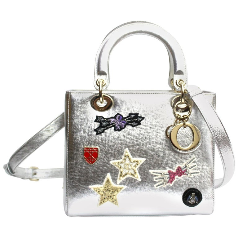 Christian Dior Lady Dior Handbag Patch Embellished Leather Medium For Sale 2dcd40cdcbcc1