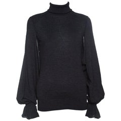 Fendi Grey Wool Armhole Cutout Detail Ruffled Cuff Sweater M