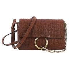Chloe Faye Shoulder Bag Crocodile Embossed Leather Small