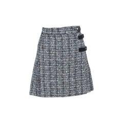 Alexander McQueen Monochrome Tweed Pleated Wrap Kilt Mini Skirt S