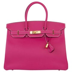 HERMES Rose Tyrien pink Epsom CANDY BIRKIN 35 Bag