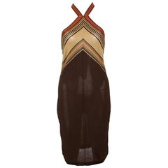 Hermes Brown Knit Striped Bodice Detail Halter Dress M