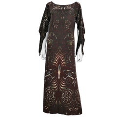 Jean Paul Gaultier Vintage Aboriginal Maori Tattoo Print Maxi Dress
