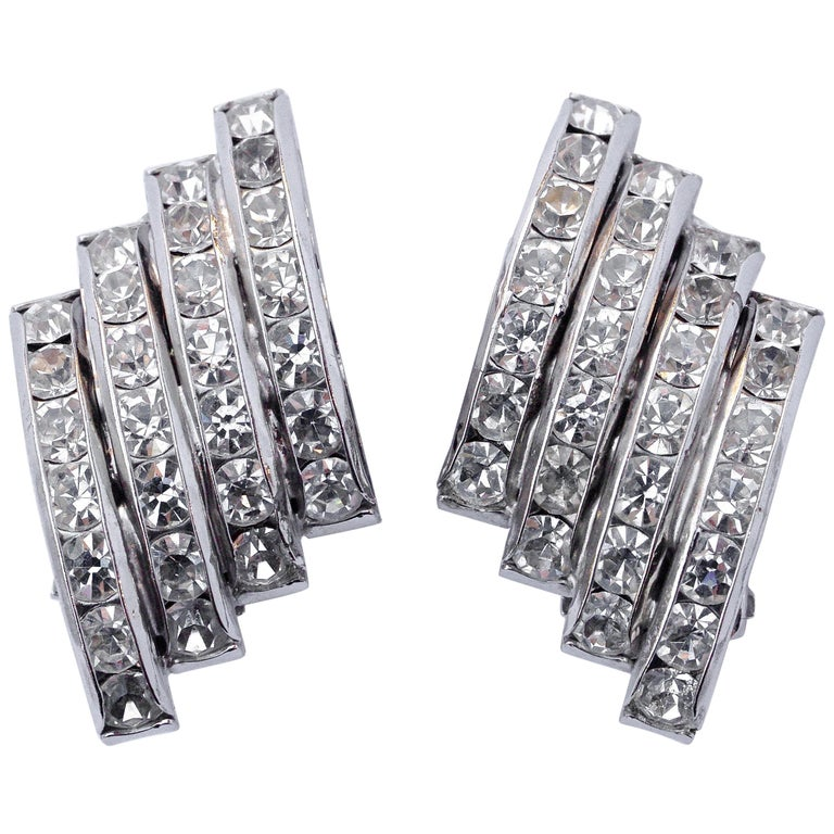 dfa0d227f2e5f Butler and Wilson Silver Tone Clear Channel Set Rhinestone Clip On Earrings