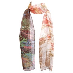 Long Liberty of London All Silk Chiffon Scarf with Landscape Print