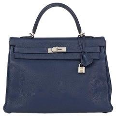 2014 Hermes Bleu Saphir Togo Leather Kelly 35cm Retourne