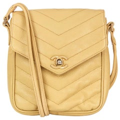 1991 Chanel Beige Chevron Quilted Caviar Leather Classic Single Flap Bag