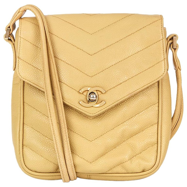 b2fe02d1f483 1991 Chanel Beige Chevron Quilted Caviar Leather Classic Single Flap Bag  For Sale