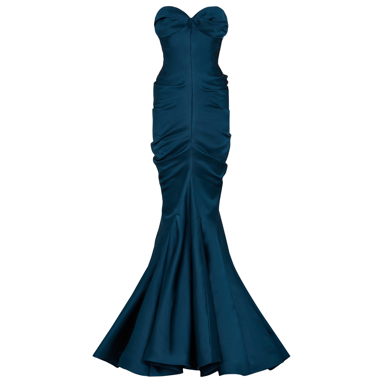 Christian Dior Vintage Haute Couture Silk Satin Corset Sculpted Gown