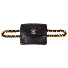 1990 Chanel Black Quilted Lambskin Vintage Classic Belt Bag