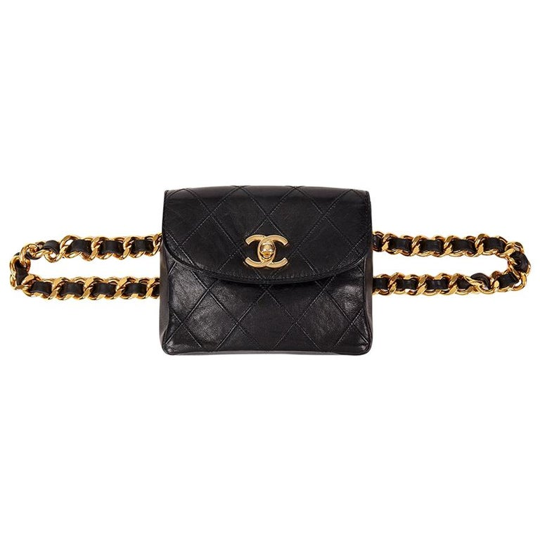 bfba270f30a7 1990 Chanel Black Quilted Lambskin Vintage Classic Belt Bag at 1stdibs