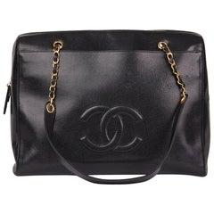 1997 Chanel Black Caviar Leather Vintage Timeless Shoulder Bag