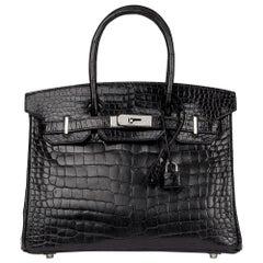 2010 Hermès Black Shiny Porosus Crocodile Leather Birkin 30cm