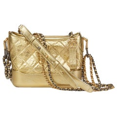 2018 Chanel Gold Quilted Metallic Aged Calfskin Leather Small Gabrielle Hobo Bag