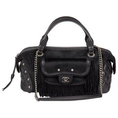 2014 Chanel Black Quilted Calfskin, Suede & Pony Fur Paris-Dallas Boston Bag