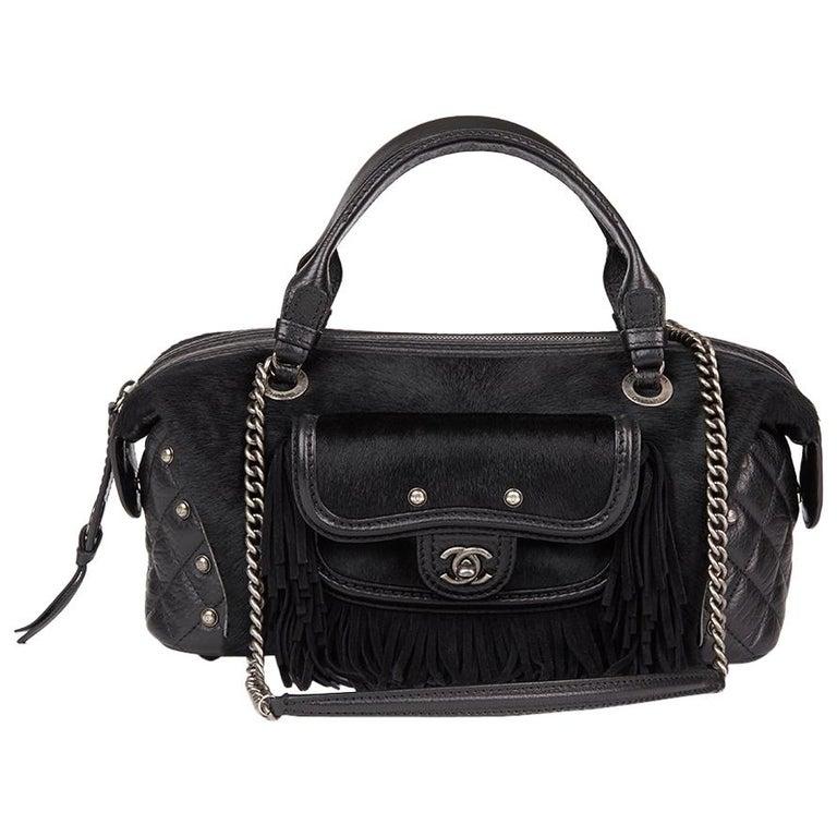 2014 Chanel Black Quilted Calfskin, Suede & Pony Fur Paris-Dallas Boston Bag For Sale