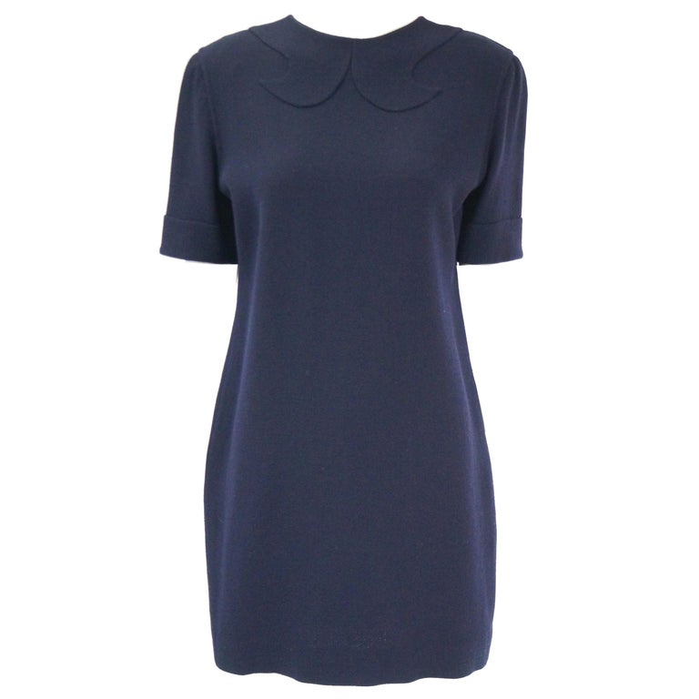 1990s Bill Blass Navy Blue Shift Dress with Curved Neckline Detail For Sale