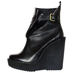 Pierre Hardy Black Leather Wedge Booties W/ Side Buckle Sz 37