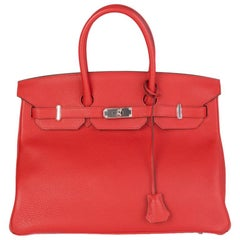 HERMES Rouge Tomate red Clemence leather & Palladium BIRKIN 35 Bag