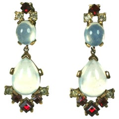Trifari Alfred Philippe Clair de Lune Moonstone and Ruby Pendant Earclips