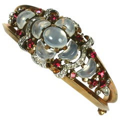 Trifari, Alfred Phillipe Clair de Lune Hinged Bangle