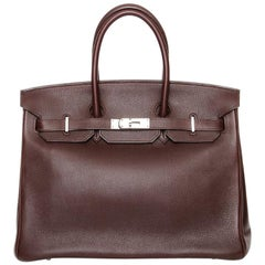 HERMES Havane brown Evergrain leather & Palladium BIRKIN 35 Bag