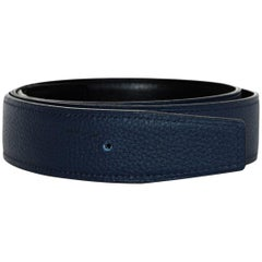 Hermes 2018 32mm Bleu Brighton/Black Reversible Leather Belt Strap sz 80