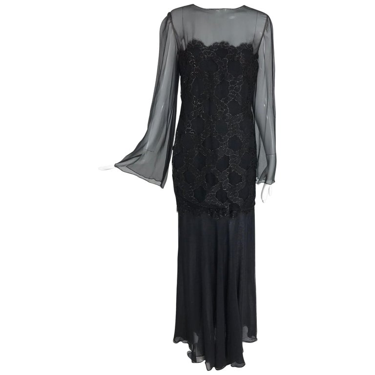 Bill Blass Lacquered Lace Over Black silk chiffon Evening Dress 1970s 12 For Sale