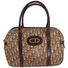 Christian DIor Burgundy Leather and Logo Canvas Large Handbag Rare 1970s