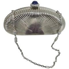 Judith Leiber silver sunburst hardside evening clutch or shoulder bag