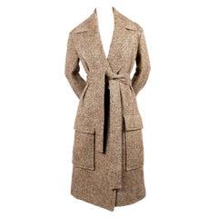 CELINE by PHOEBE PHILO tweed wool coat with waist tie - new
