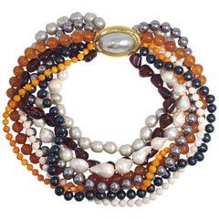 Ciner Tahitian, Baroque Pearl, Angel Skin, Orange Coral, Carnelian Necklace