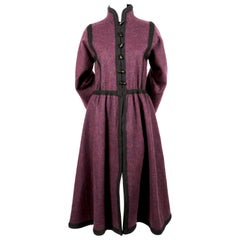 1976 YVES SAINT LAURENT 'Russian collection' wool coat with braided trim