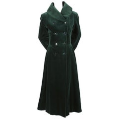 1992 AZZEDINE ALAIA forest green velvet runway coat