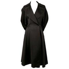 1980's AZZEDINE ALAIA black gabardine wool maxi coat with full skirt
