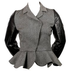 new 2002 Nicolas Ghesquiere for BALENCIAGA wool & leather runway jacket