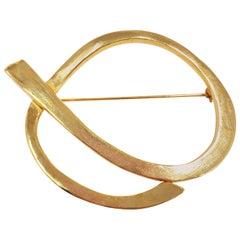 Oscar de la Renta Abstract Modernist Ribbon Statement Brooch Pin in Gold