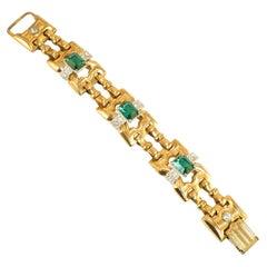Art Deco McClelland Barclay Geometric Emerald Bracelet 1930s