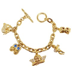 KJL Kenneth Jay Lane Chain Link Five Charm Bracelet, with Toggle Clasp, in Gold