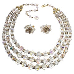 Vendome Aurora Borealis Crystal Demi Parure Three Strand Necklace and Earrings