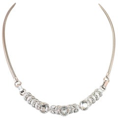 Art Deco Engel Brothers Rhodium Sterling & Crystal Necklace