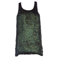 Anne Demeulemeester Iridescent Feather Racerback Silk Tank Top Dress & Skirt