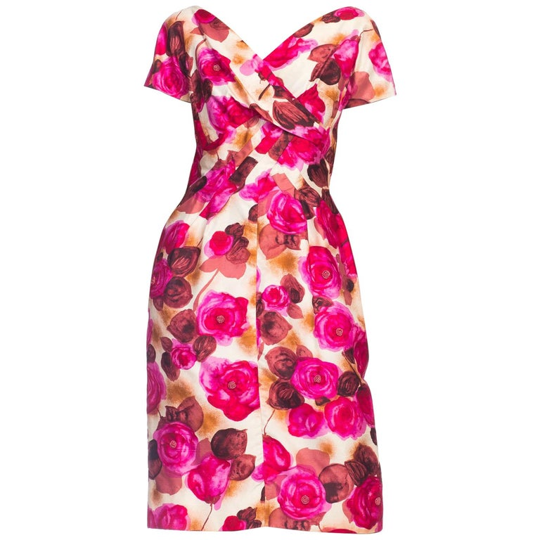 1950s Ceil Chapman Style Beaded Silk Floral Dress For Sale