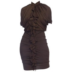 2000S GIVENCHY Chocolate Brown Silk & Lycra Draped Bodice Dress With Stretch Bo