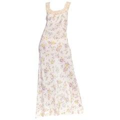 1930s Bias Cut Floral Rayon & Lace Negligee Slip Dress