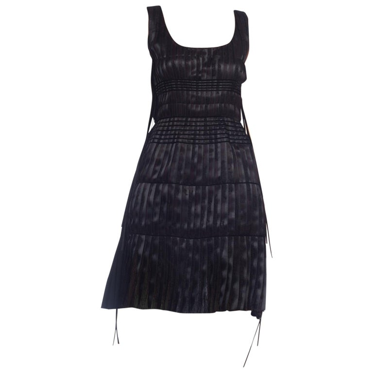 2003 Alber Elbaz Lanvin Pleated Lace Cocktail Dress Runway Sample For Sale