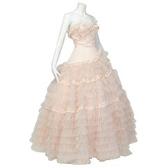 Will Steinman Pink Strapless Asymmetrical Lace Ball Gown - Small, 1950s
