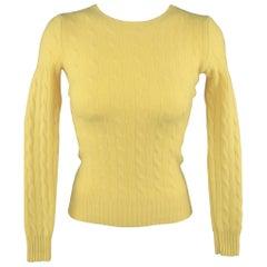 RALPH LAUREN Size XS Yellow Cashmere Cableknit Crewneck Sweater