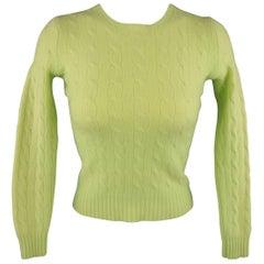 RALPH LAUREN Size S Pastel Green Cashmere Cableknit Crewneck Sweater