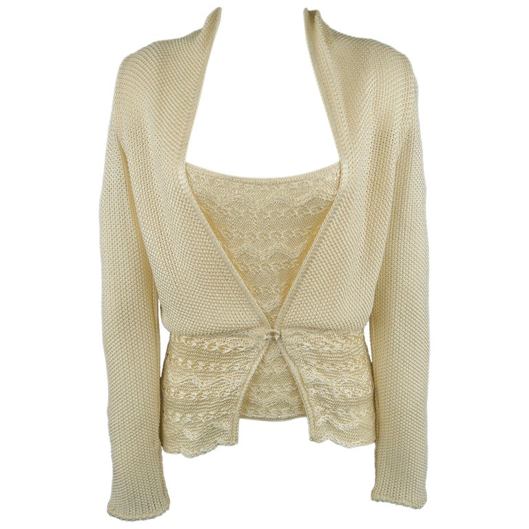 MISSONI Size 8 Cream Knit Cardigan and Camisole Top Set For Sale at ... 306c42844
